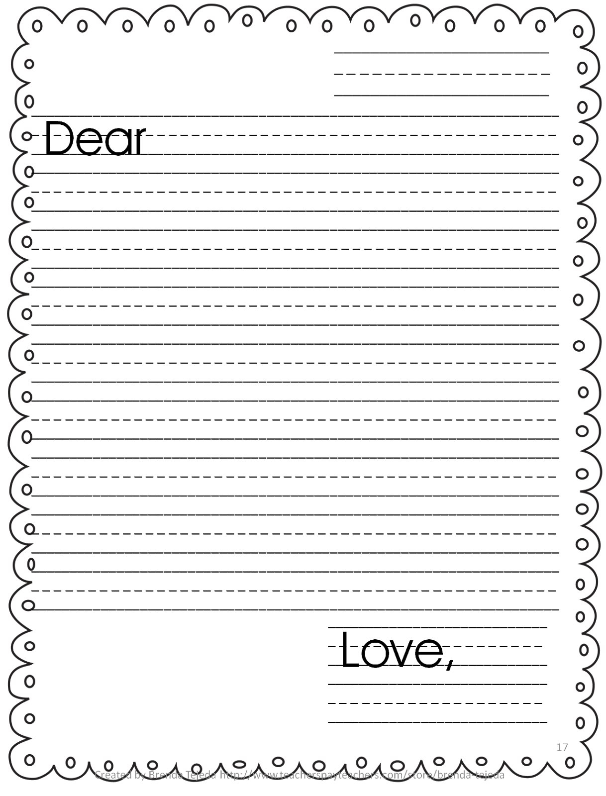 Letter Writing Template For Kids – Kanza With Letter Writing Template For Kids