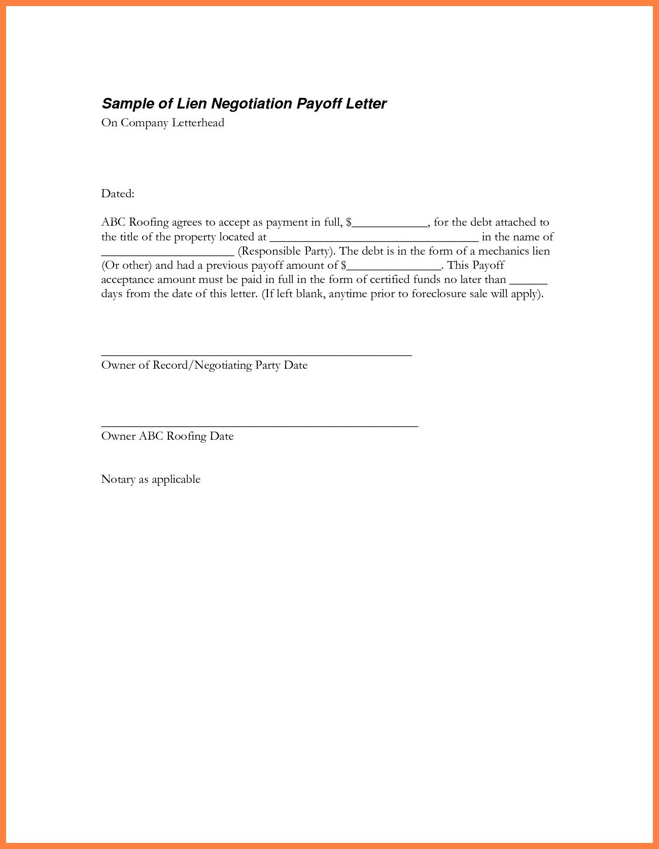 Loan Payoff Letter  Heleenvandenhombergh With Regard To Payoff Letter Template