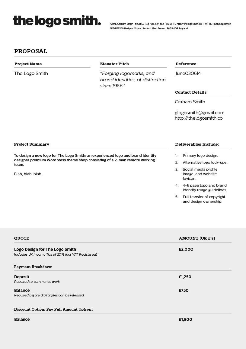 Logo Design Proposal Invoice Template To Download  Graphic Design With Branding Proposal Template