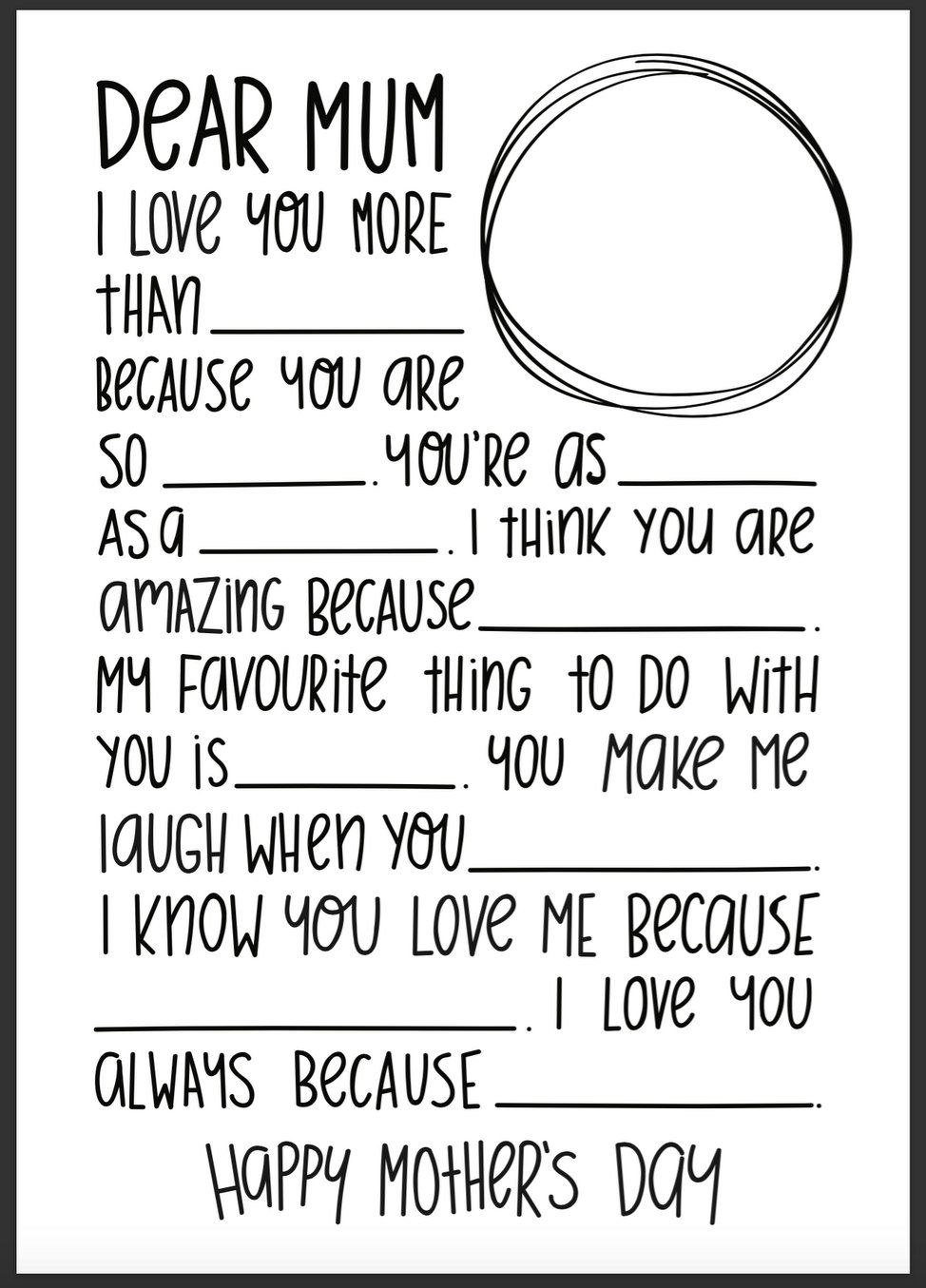Mother's Day Fill In The Blank Letter Template  Primary  Father's For Mother's Day Letter Template