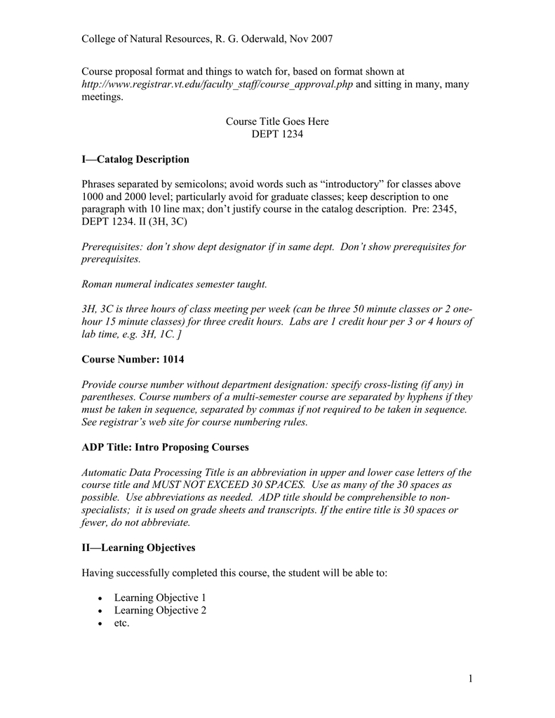 New Course Proposal Format Microsoft Word Document Pertaining To Course Proposal Template