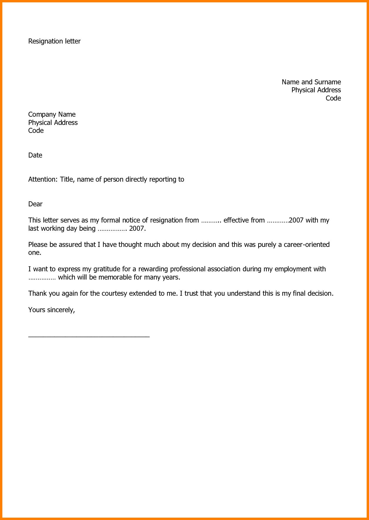 New Quitting Job Letter Example  Util  Resignation Letter Inside Free Sample Letter Of Resignation Template