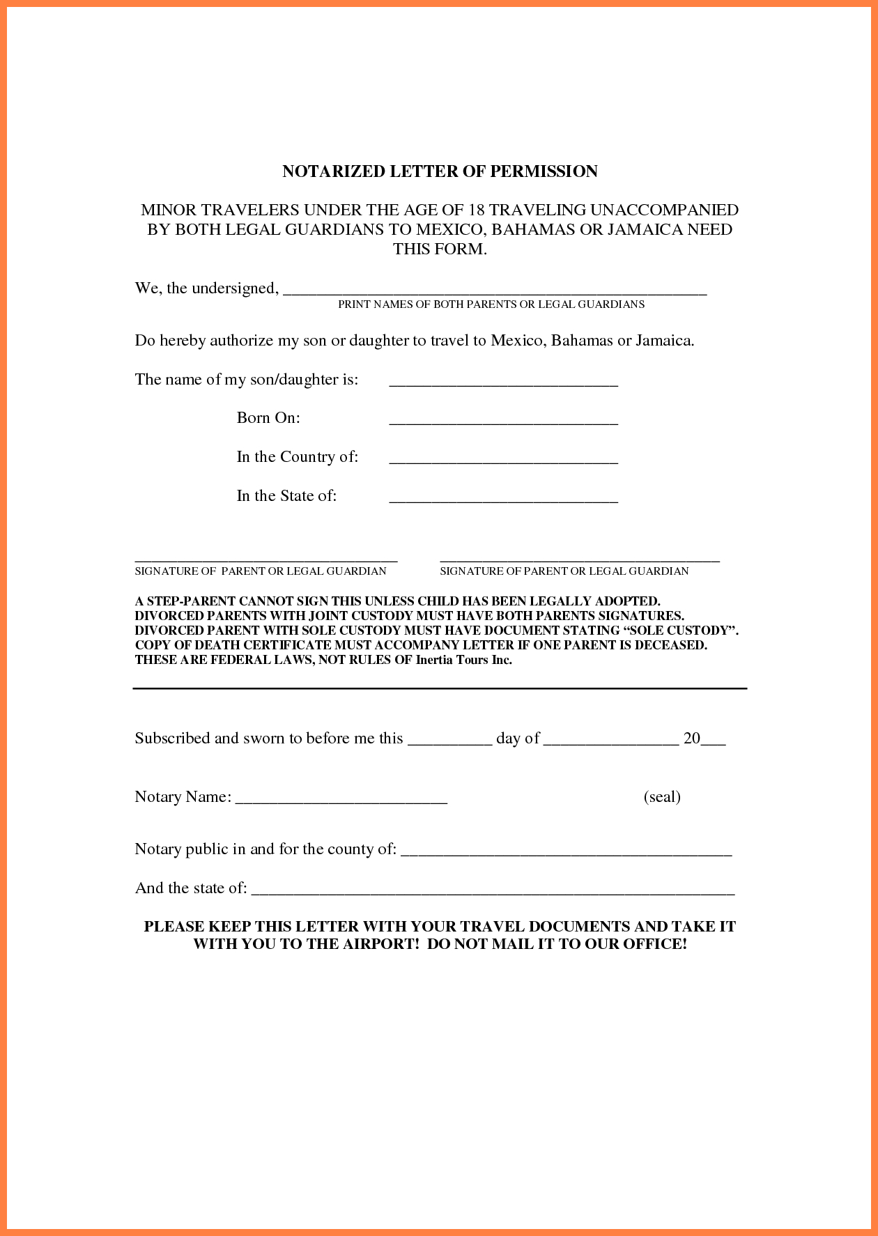 Notarized Letter Template For Child Travel  Sales Intro Letter Within Notarized Letter Template For Child Travel