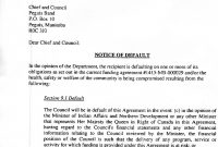 Notice Of Default Letter  Peguis First Nation Regarding Notice Of Default Letter Template