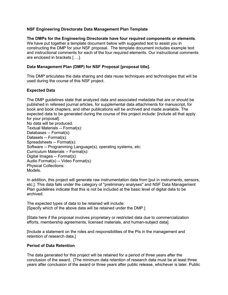Nsf Engineering Directorate Data Management Plan Template Within Nsf Proposal Template