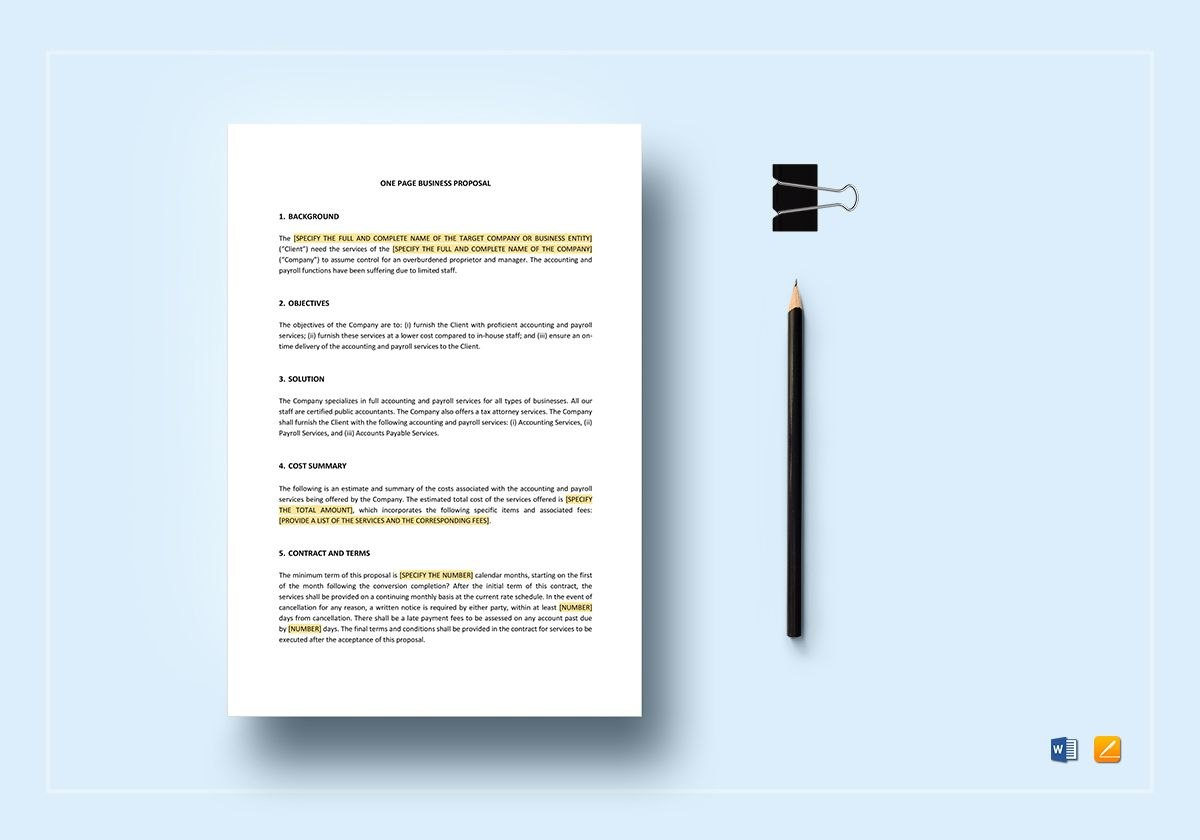 One Page Business Proposal Template Pertaining To One Page Proposal Template