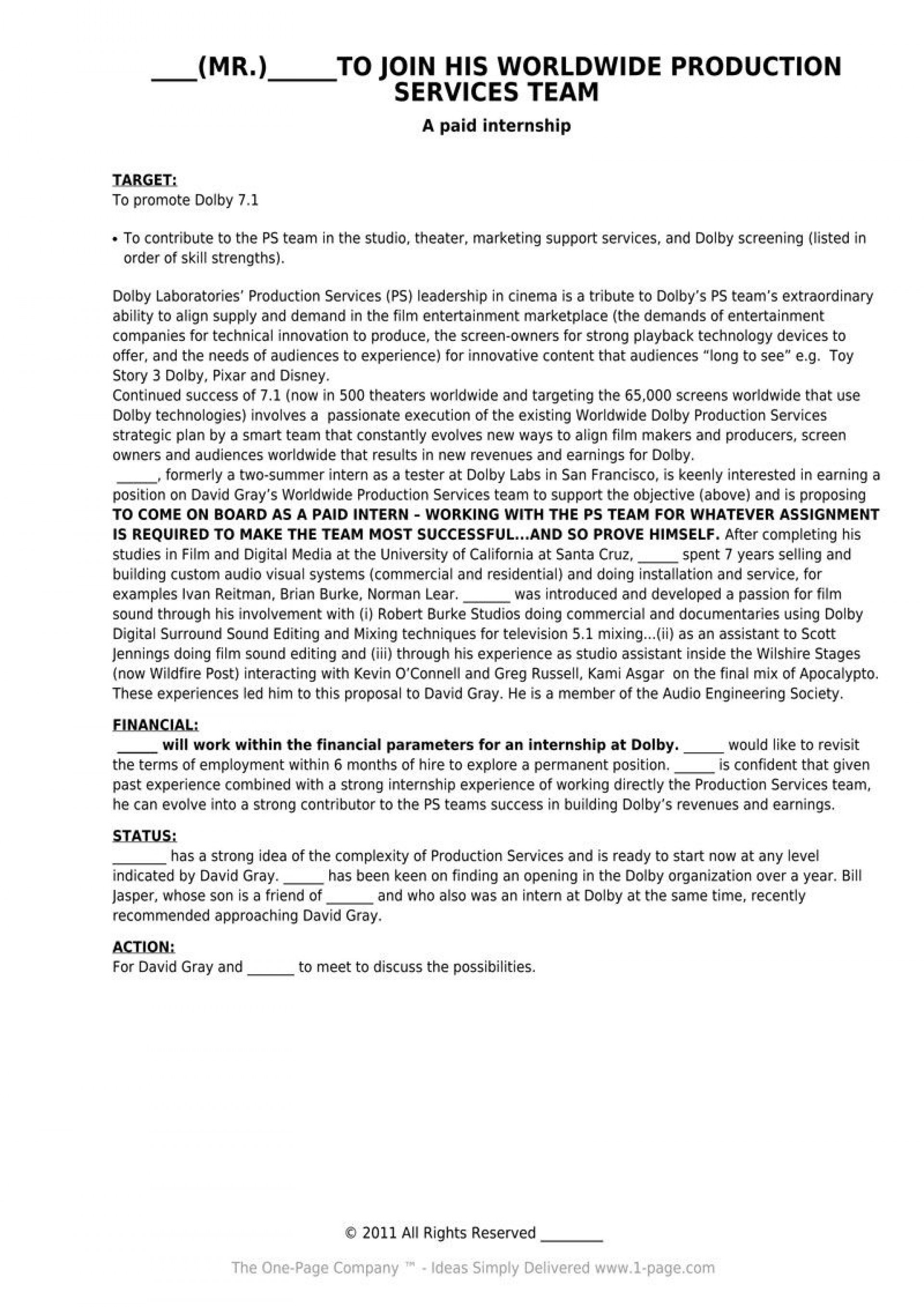 One Page Proposal Template Ideas Unusual Research Apa Business Pertaining To Idea Proposal Template