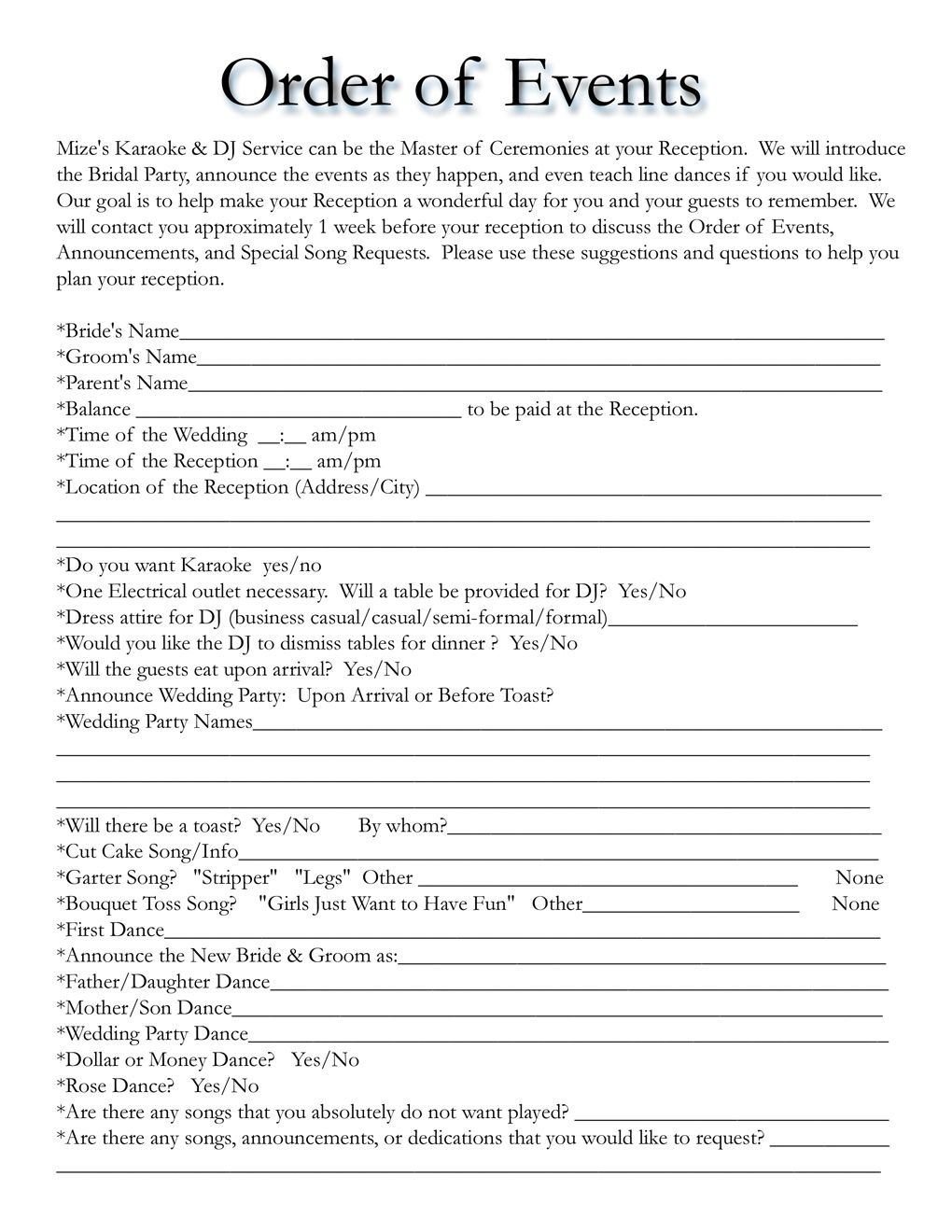 Order Of Events For Wedding Dj  Mobile Dj In   Wedding With Wedding Agenda Templates