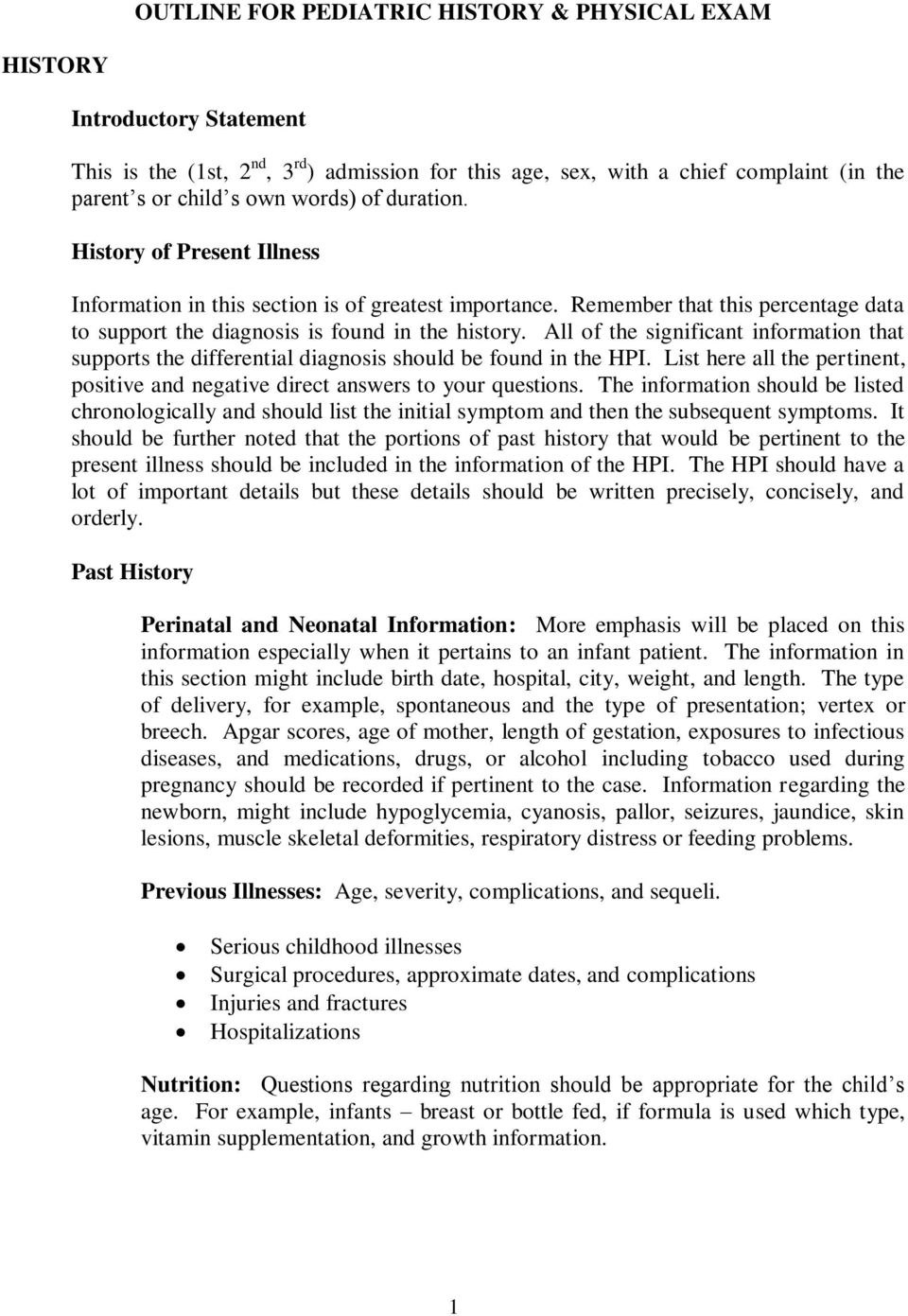 Outline For Pediatric History  Physical Exam  Pdf In History Of Present Illness Template