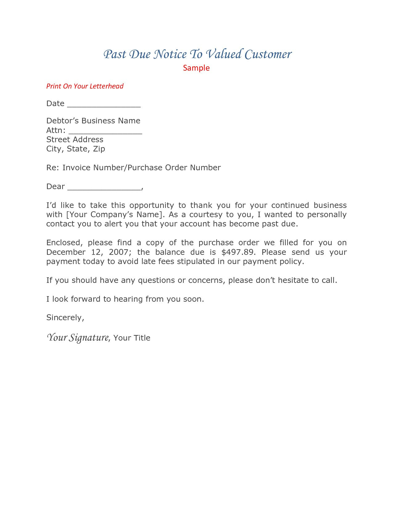 Past Due Invoice Letter Template Collection  Letter Cover Templates Intended For Past Due Letter Template