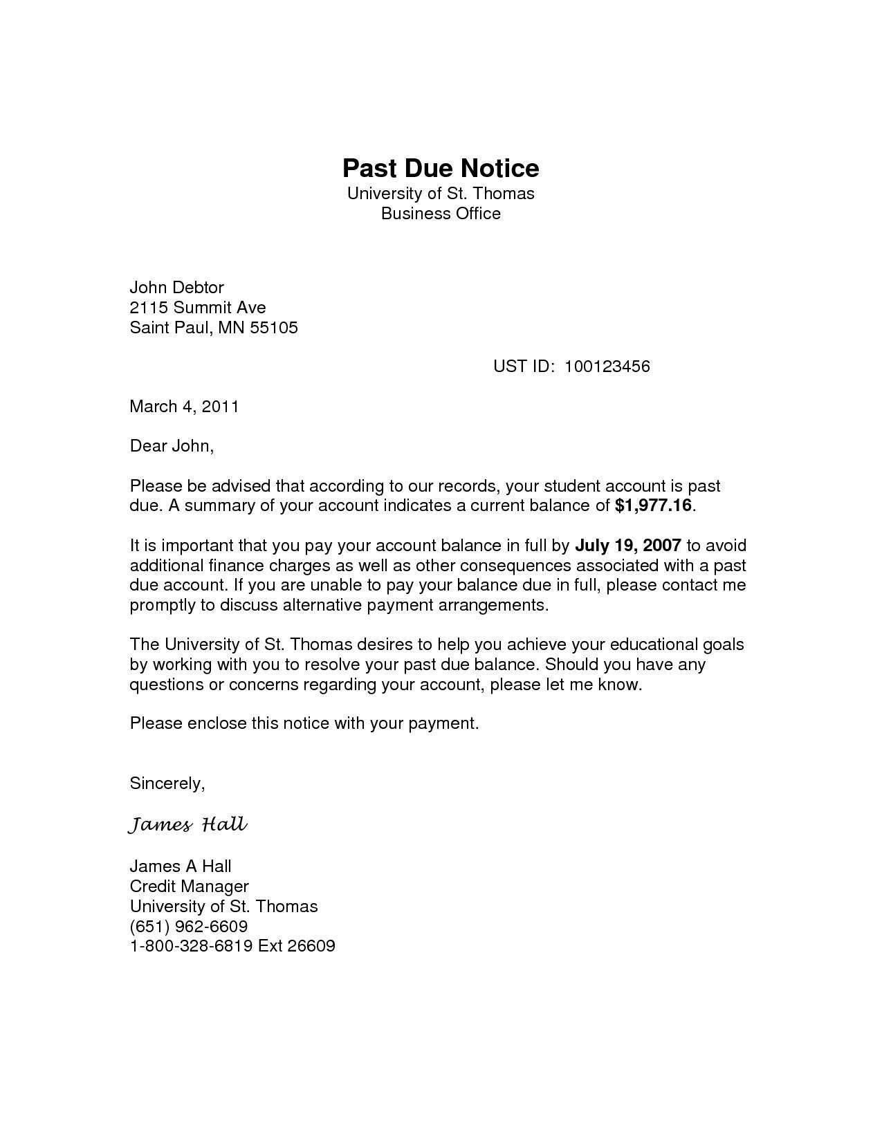 Past Due Rent Letter Template Examples  Letter Template Collection Within Past Due Letter Template