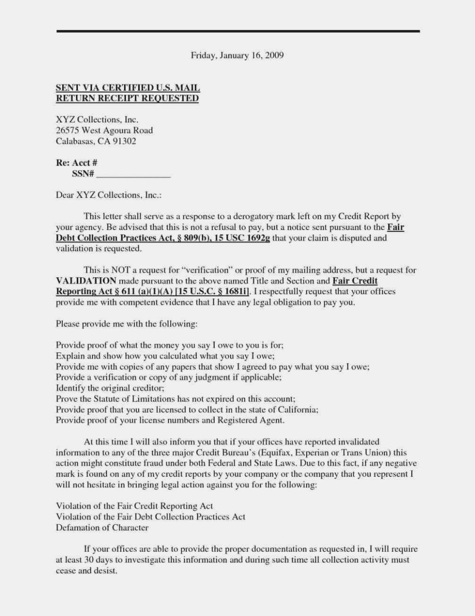 Pay For Delete Letter Template Collection  Letter Template Regarding Pay For Delete Letter Template