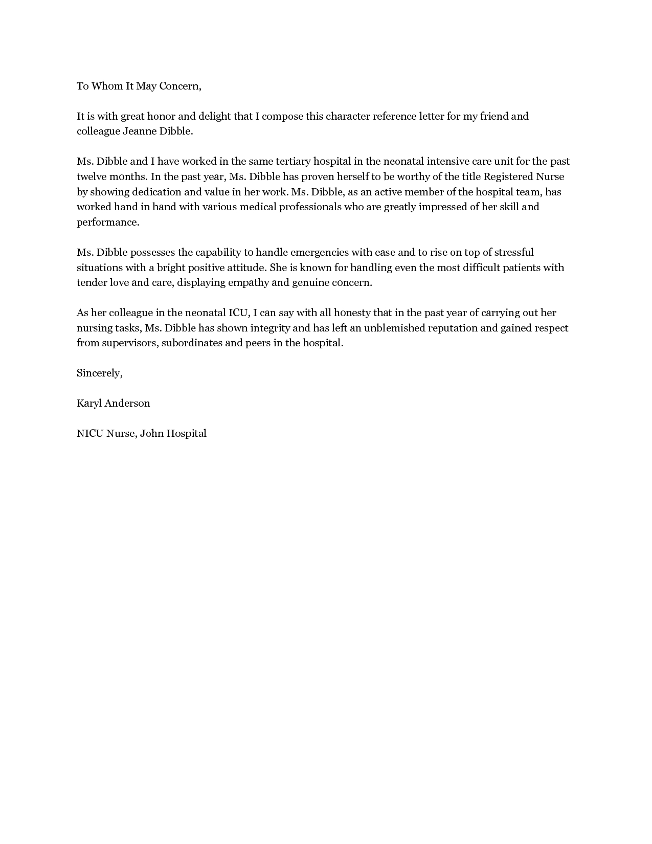 Personal Character Reference Letter Friend Jos Gandos With Letter Of Recommendation For A Friend Template