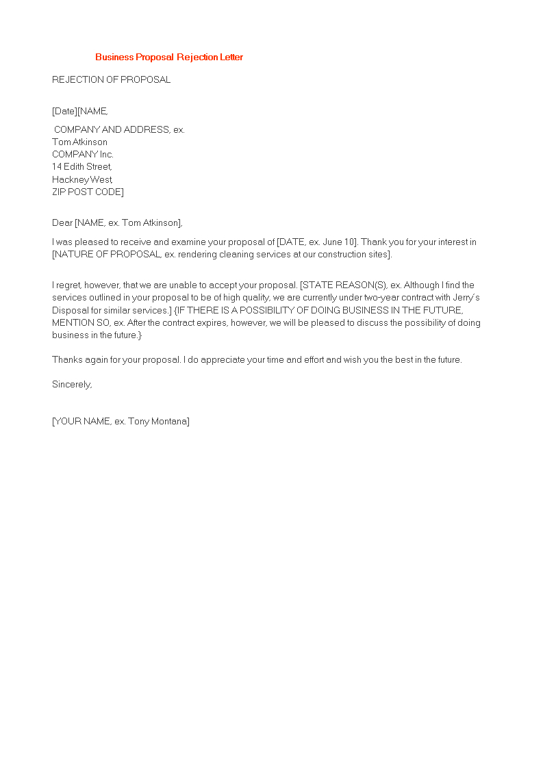 Polite Business Proposal Rejection Letter  Templates At Intended For Proposal Rejection Letter Template