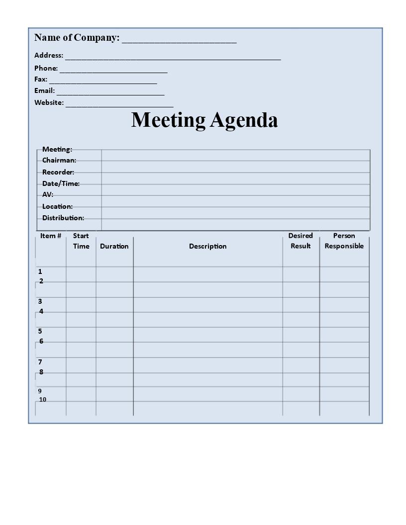 Printable Agenda Template Free Blank Format Templates At For Blank Meeting Agenda Template