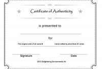 Printable Certificate Authenticity Template  Free Download  D inside Letter Of Authenticity Template