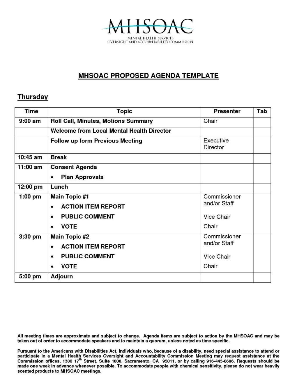 Printable Meeting Agenda Template – Teplates For Every Day For Consent Agenda Template