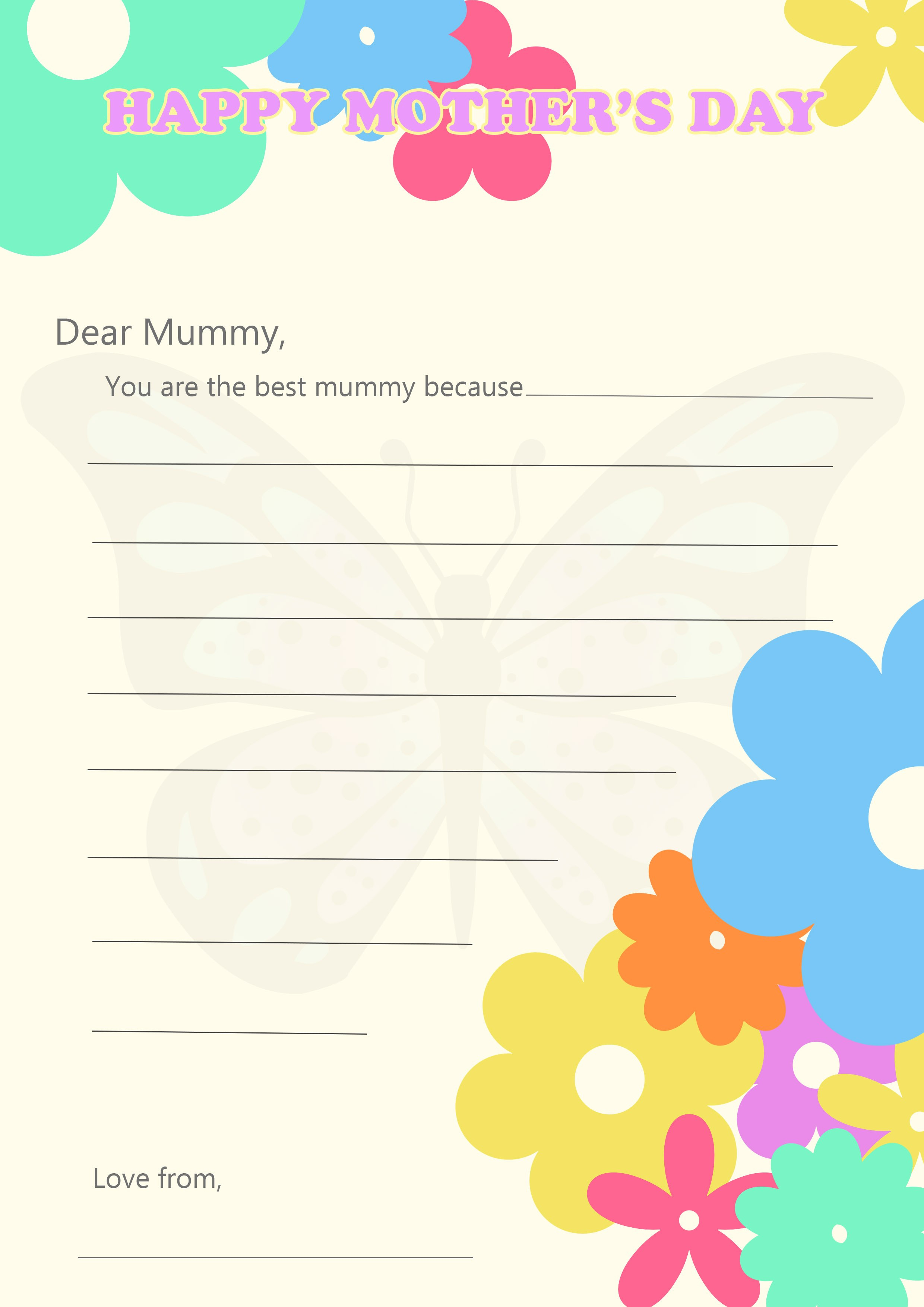 Printable Mother's Day Letter  Blog Pertaining To Mother's Day Letter Template