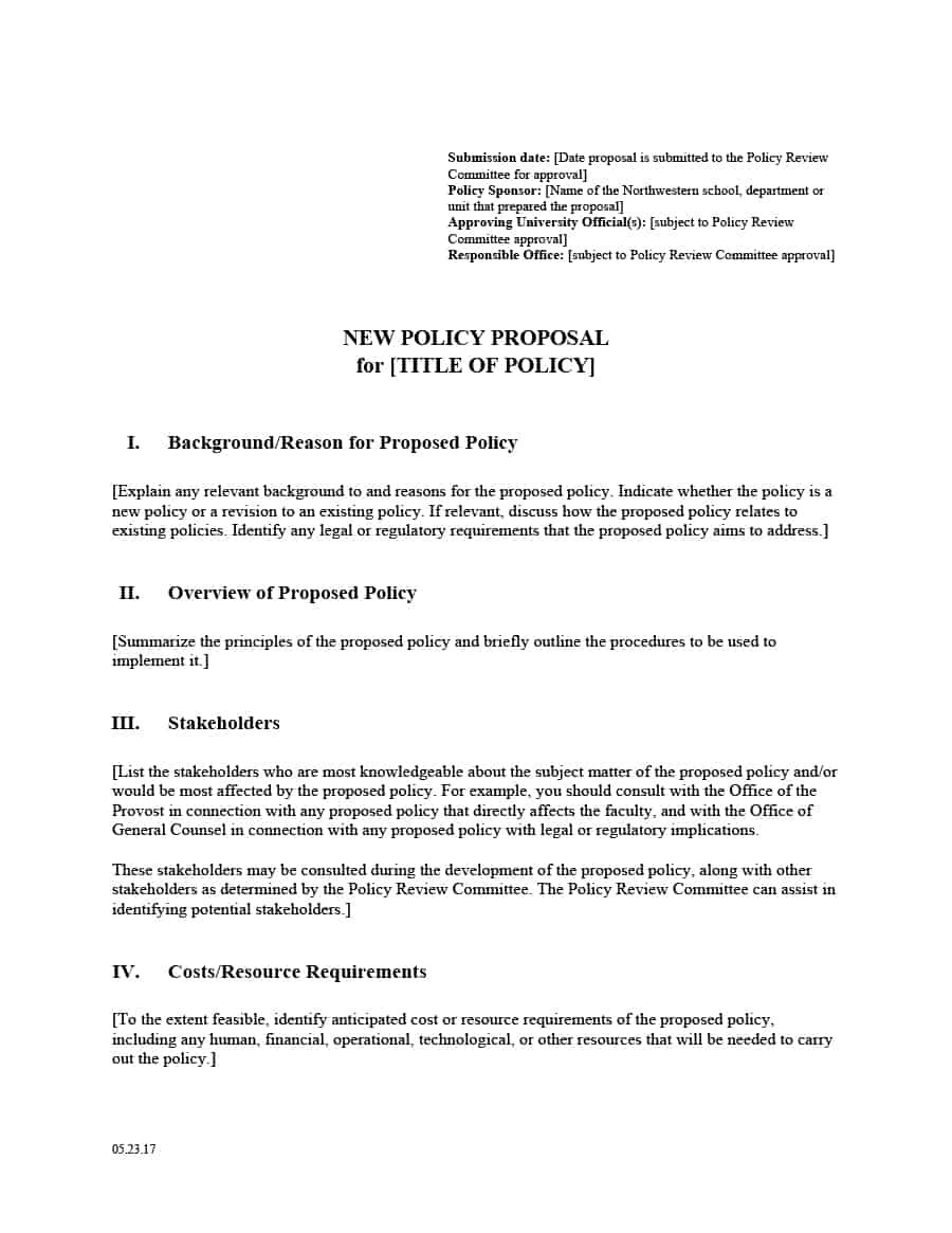 Professional Policy Proposal Templates  Examples ᐅ Template Lab For Policy Proposal Template