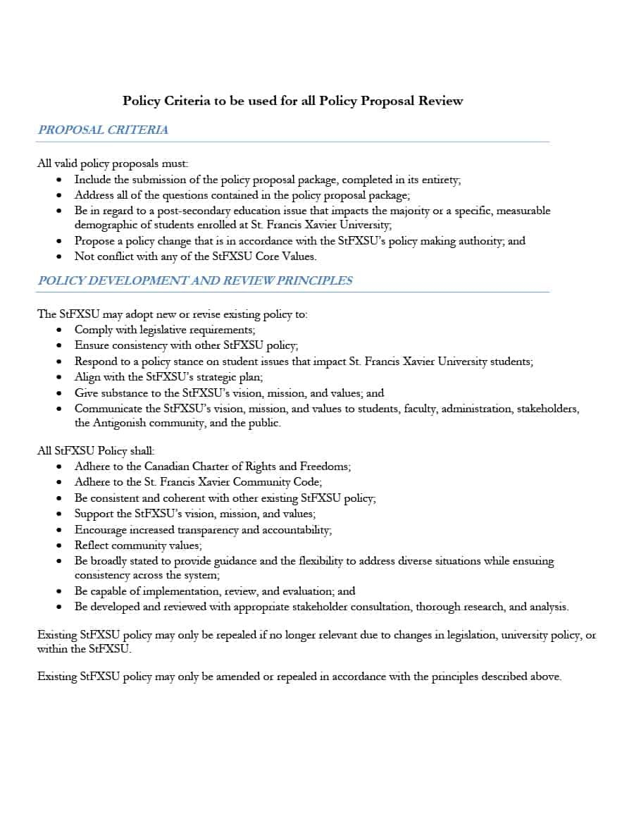 Professional Policy Proposal Templates  Examples ᐅ Template Lab Within Policy Proposal Template