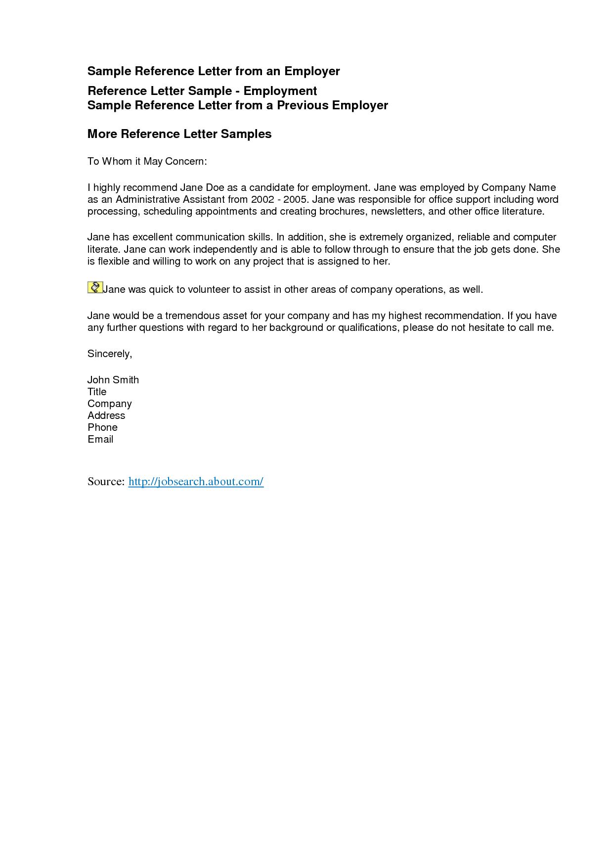 Reference Letters Freereference Letter Examples Business Letter Inside Reference Letter Template For Volunteer