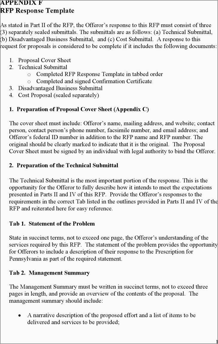 Response To Rfp Template Free Best Of Rfp Proposal Response Template In Request For Proposal Response Template