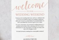 Rose Gold Wedding Itinerary Template  Wedding Welcome Letter inside Welcome Bag Letter Template