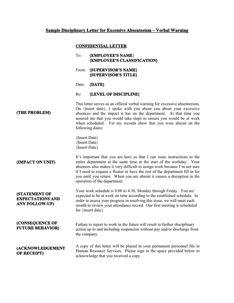 Sample Disciplinary Letter For Excessive Absenteeism – Verbal Within Truancy Letter Template