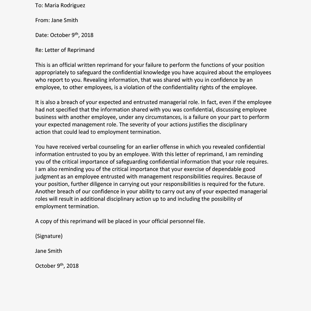 Sample Letters Of Reprimand For Employee Performance Regarding Letter Of Reprimand Template