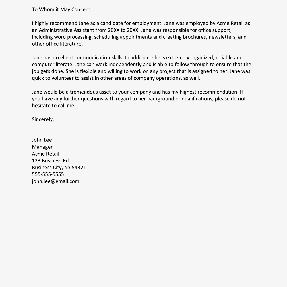 Sample Recommendation Letter From A Employer In Template For Letter Of Recommendation From Employer