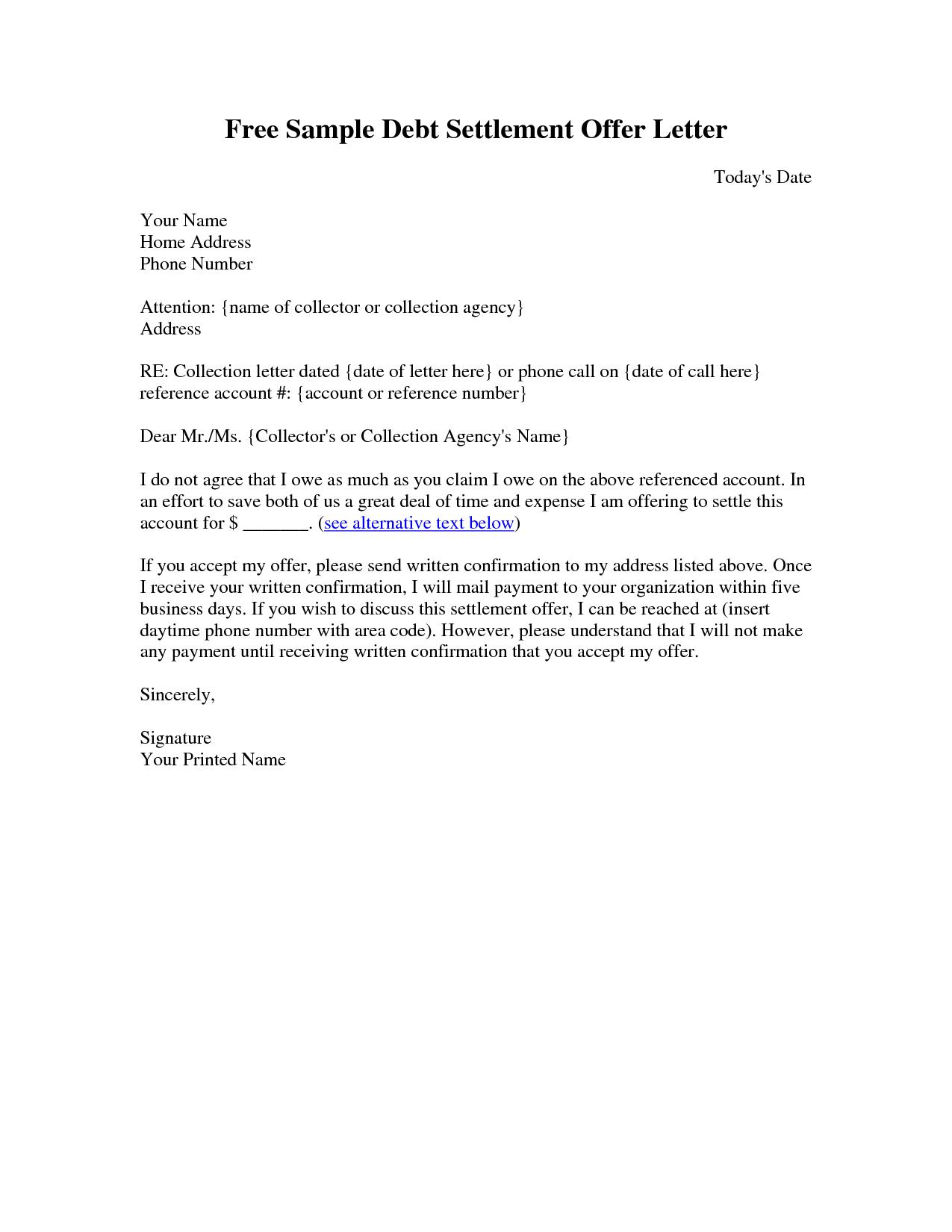 Sample Settlement Letter Debt Settlement Letter Sample  Letter Within Debt Negotiation Letter Template