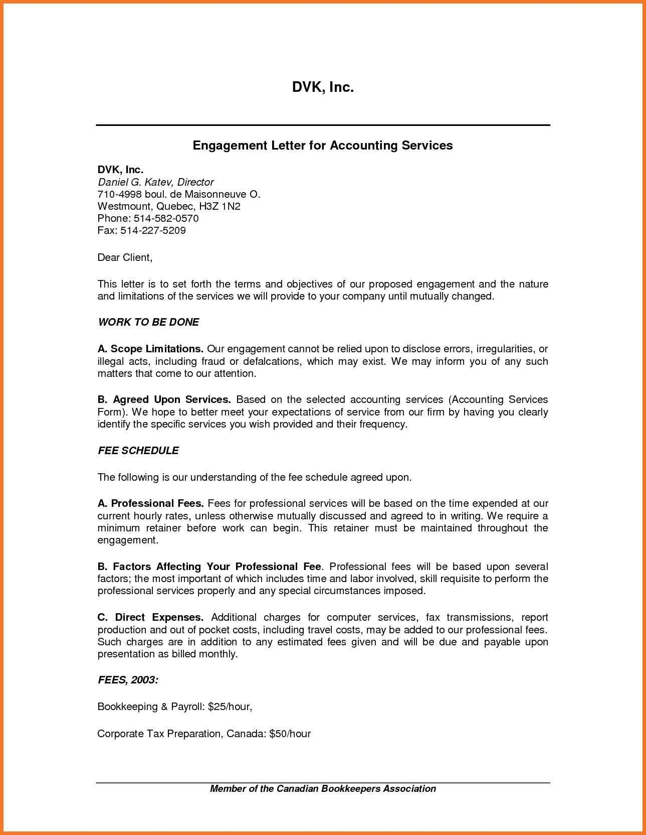 Sample Tax Consulting Engagement Letter Valid Tax Preparation Pertaining To Bookkeeping Letter Of Engagement Template