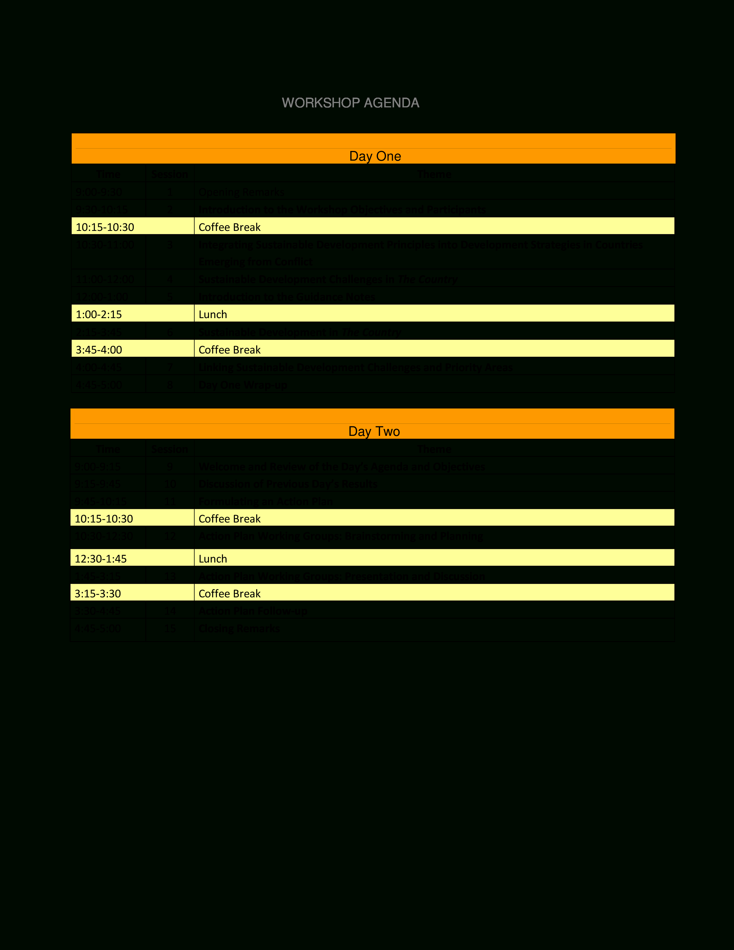 Sample Workshop Agenda  Templates At Allbusinesstemplates With Regard To Workshop Agenda Template