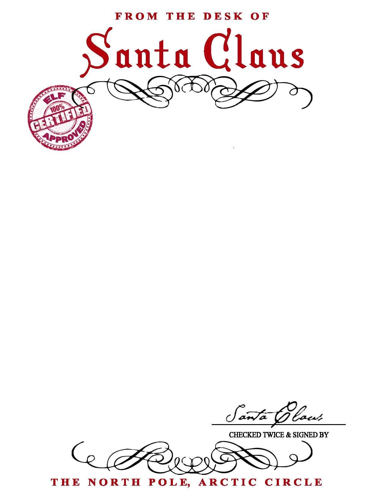 Santa Claus Letterhead Will Bring Lots Of Joy To Children Inside Free Printable Letter From Santa Template