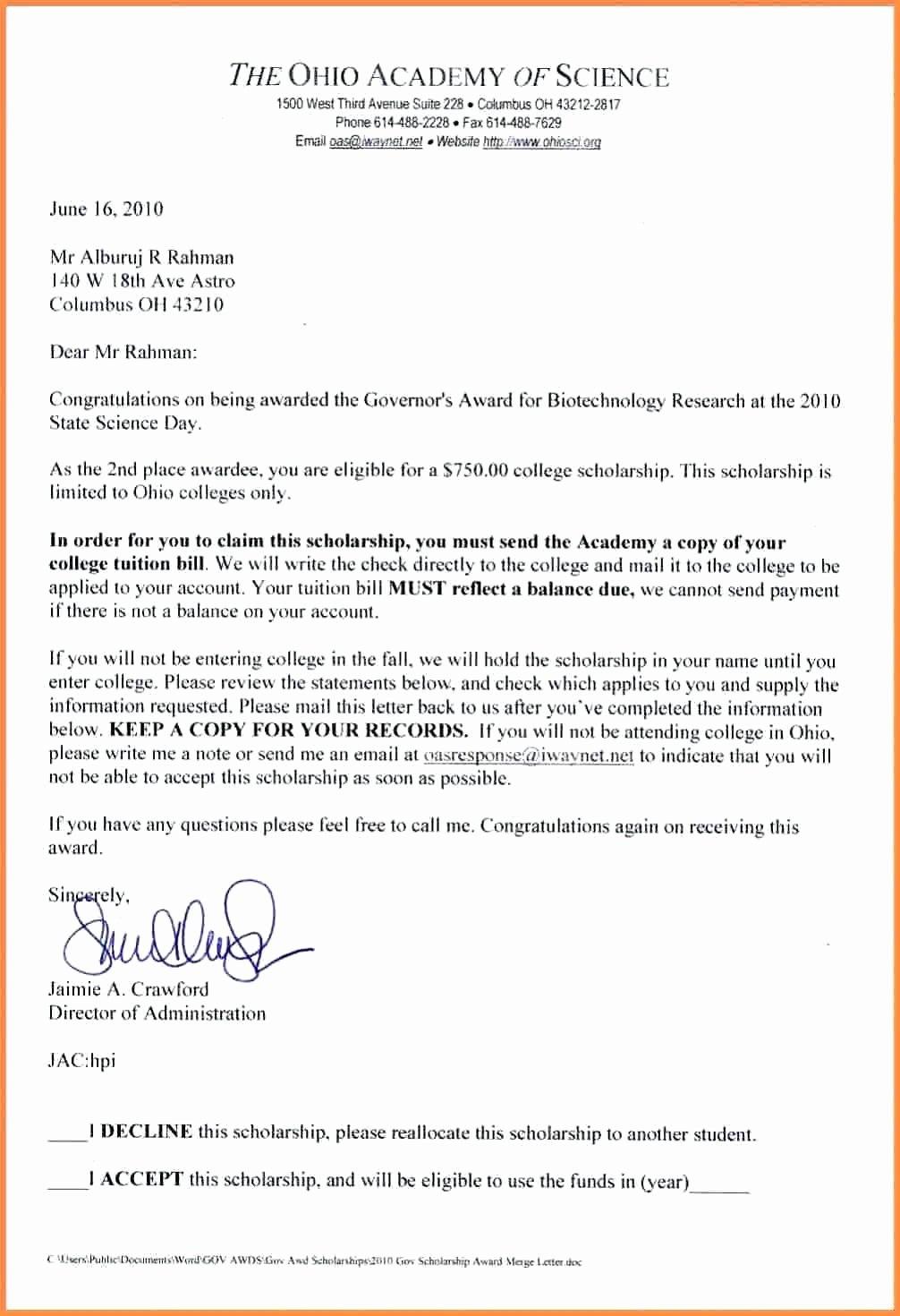 Scholarship Award Letter Template  Mathosproject Within Scholarship Award Letter Template