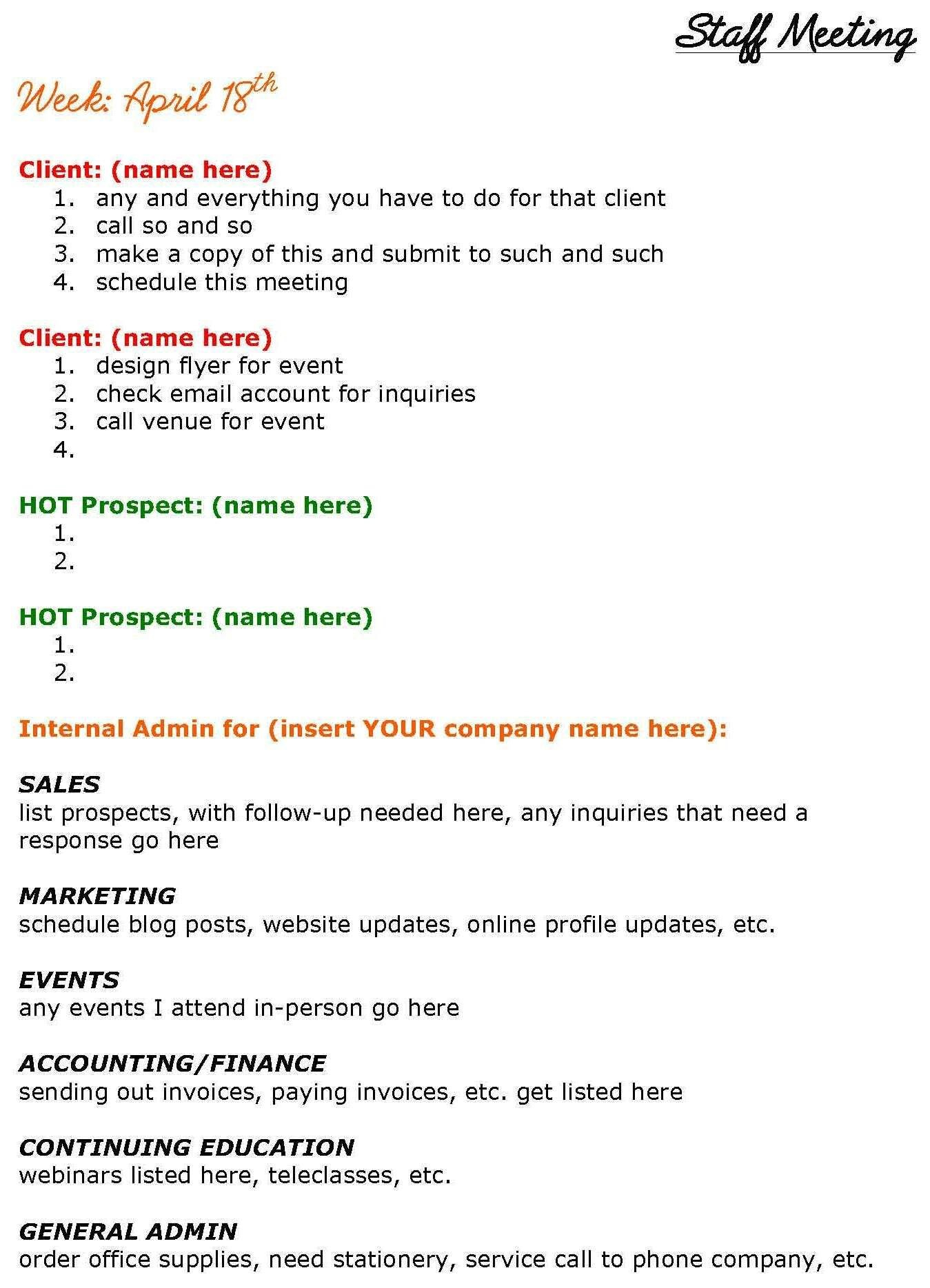 Solopreneurs Need Staff Meetings Too See This Staff Meeting Agenda With Regard To Meeting Agenda Template Doc