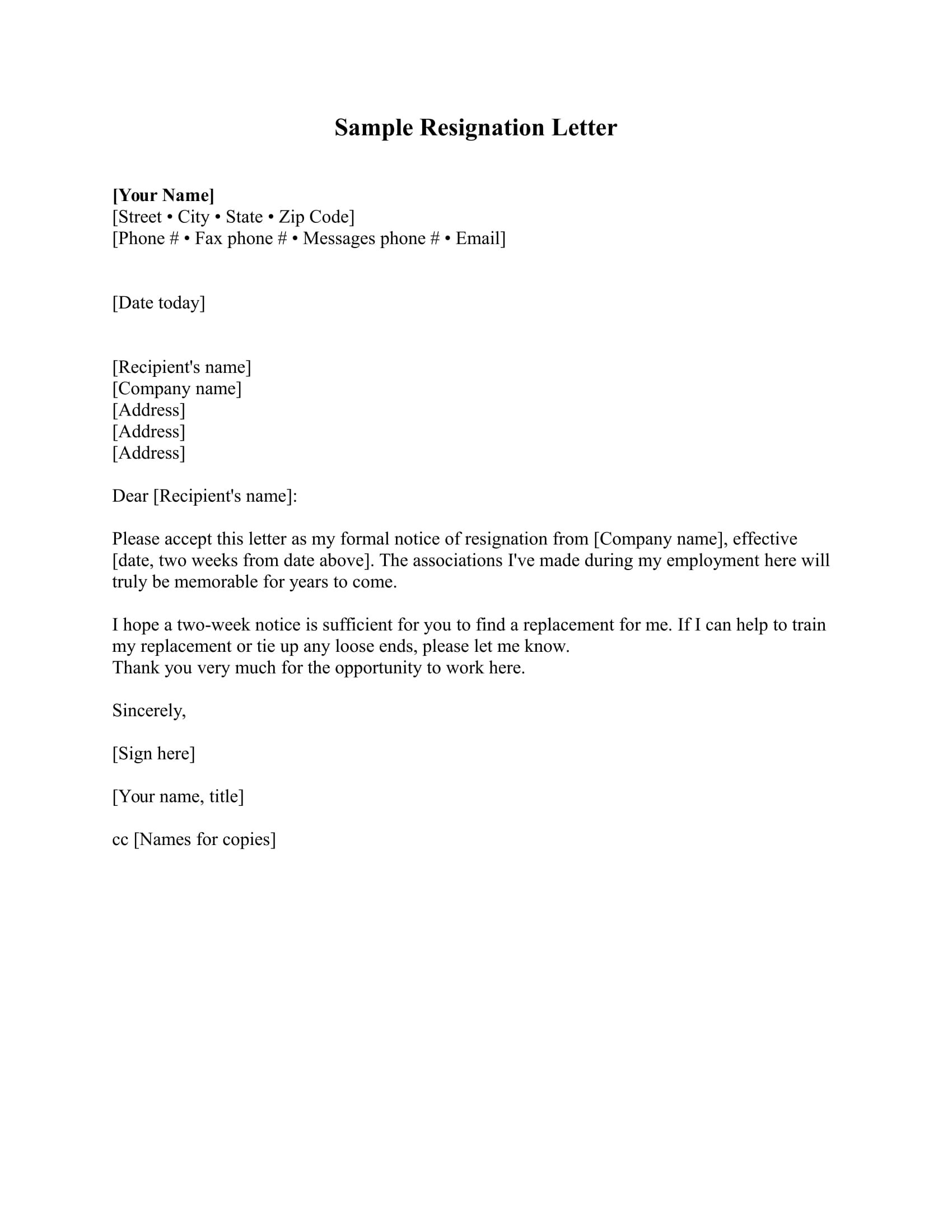 Standard Resignation Letter Examples  Pdf Word  Examples In Resignation Letter Template Pdf