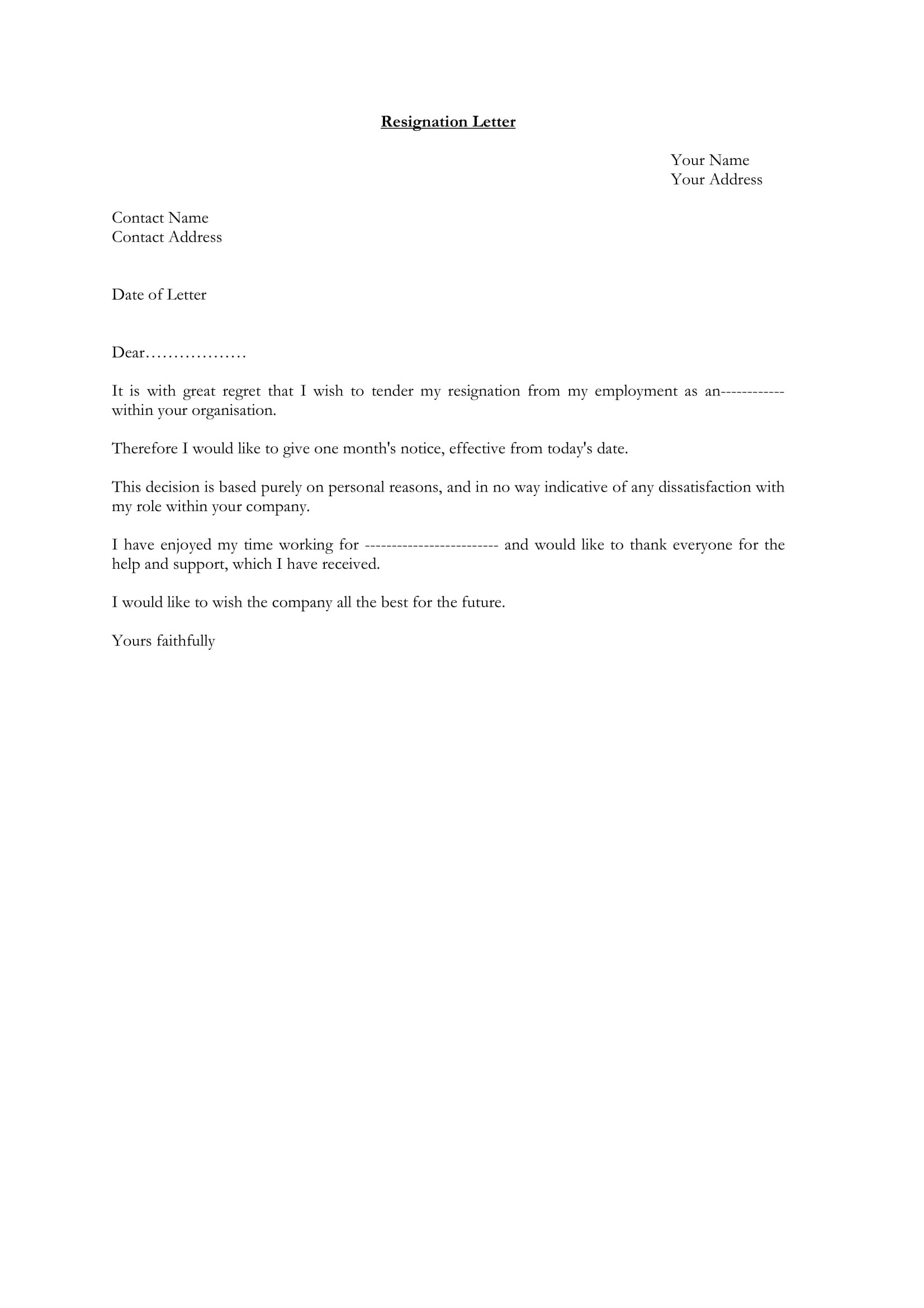 Standard Resignation Letter Examples  Pdf Word  Examples Throughout Standard Resignation Letter Template