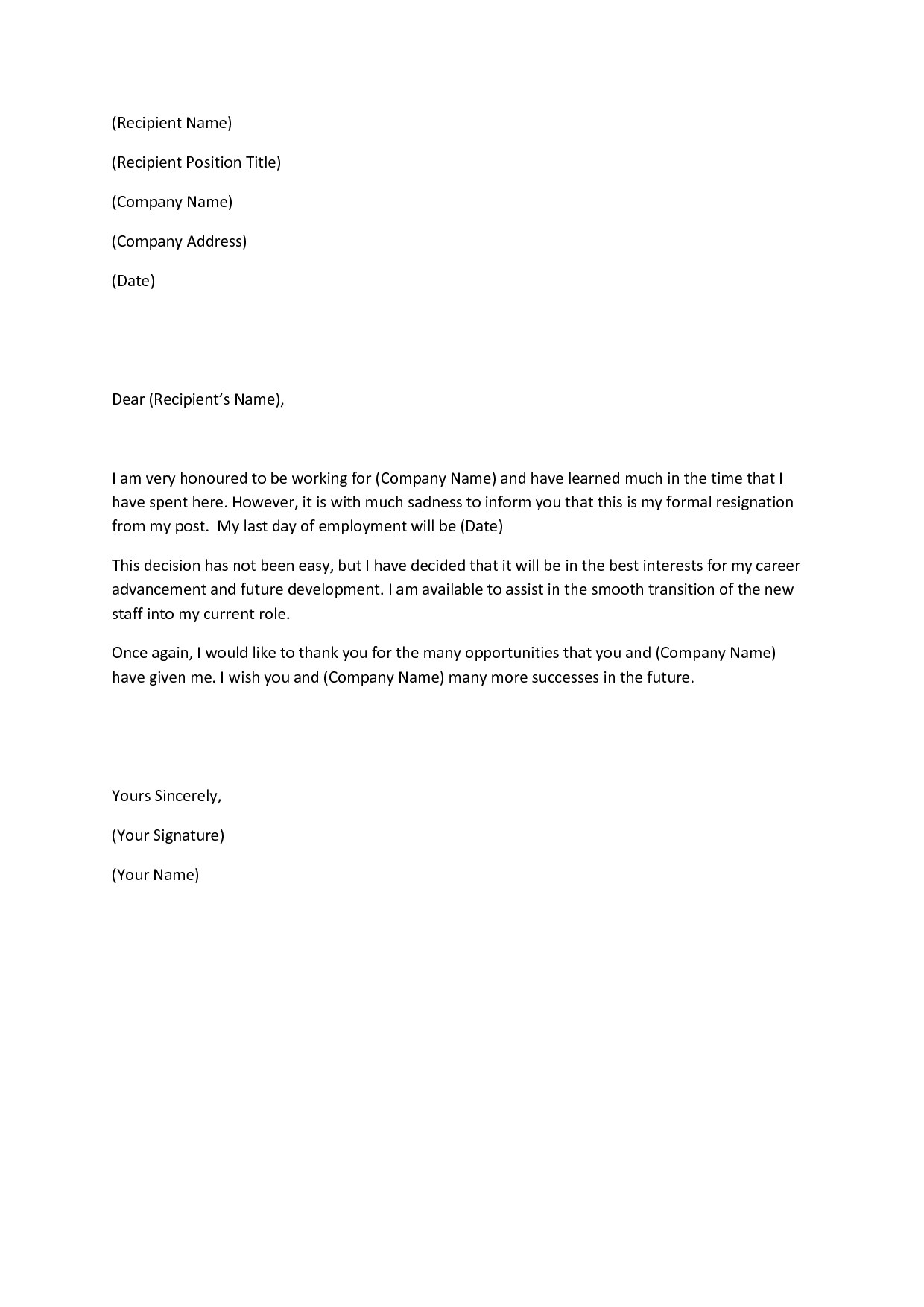 Standard Resignation Letter Examples Pdf Word It Company Notice Intended For Standard Resignation Letter Template