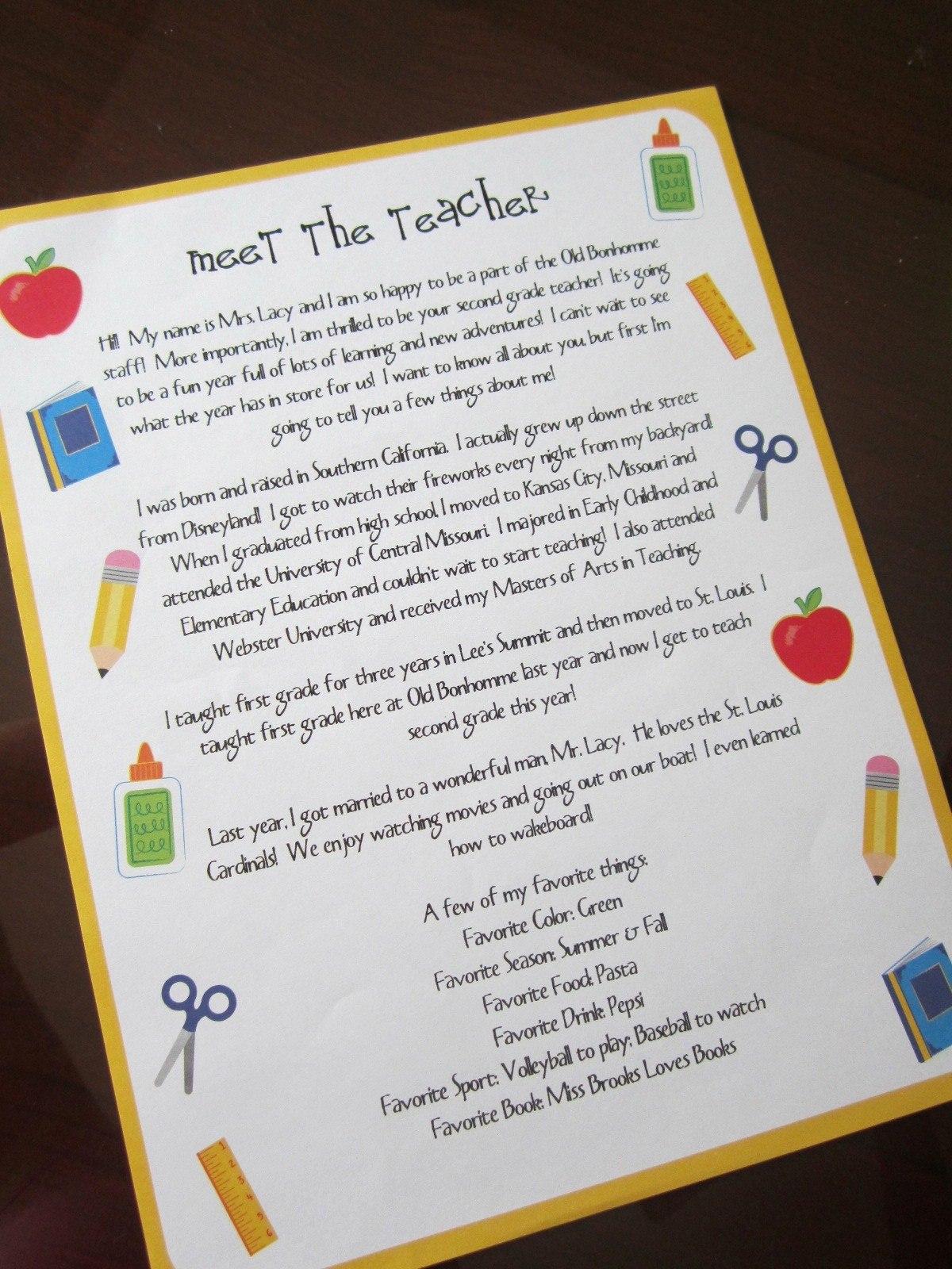 Teacher Welcome Letter Template  Locksmithcovington Template In Meet The Teacher Letter Template