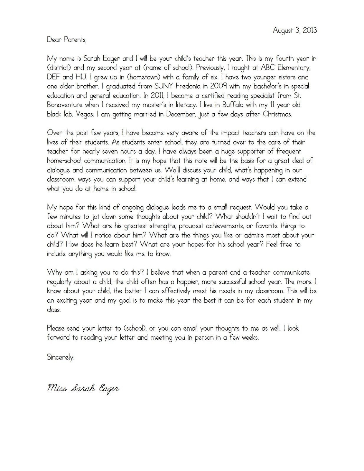 Teacher Welcome Letter To Parents Template Samples  Letter Cover Pertaining To Letter To Parents Template From Teachers