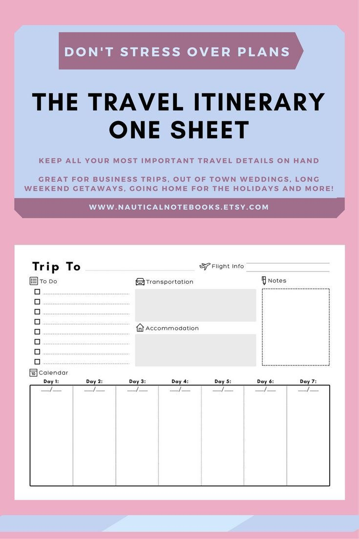 Travel Itinerary Template  Family Travel Planner  Printable For Travel Agenda Template