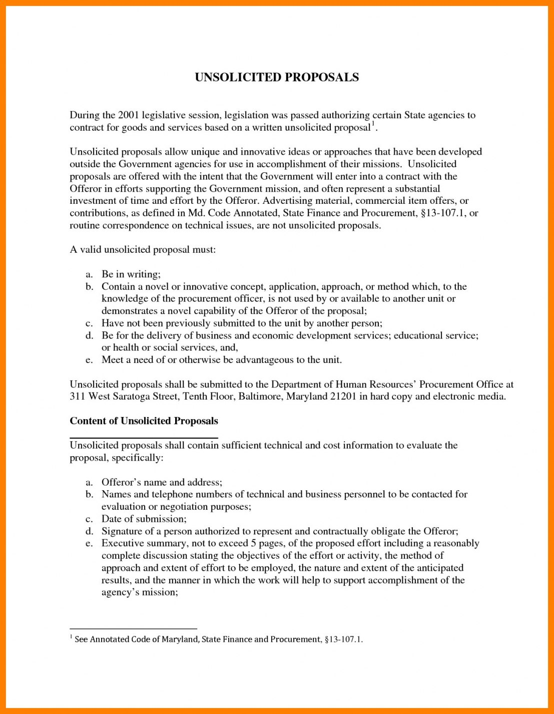 Unsolicited Proposal Template – Cnbam Inside Unsolicited Proposal Template