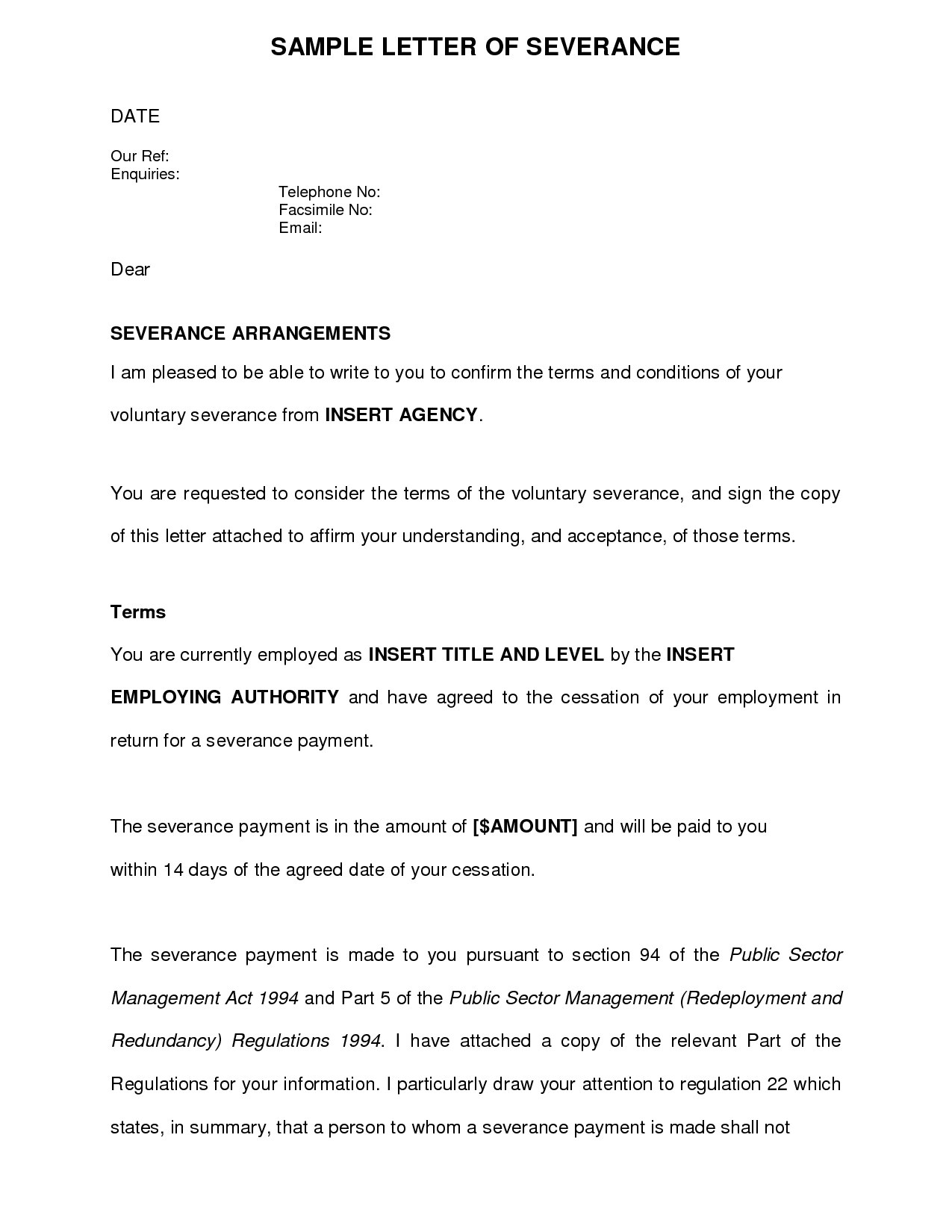 Voluntary Redundancy Letter Template To Employer – Business Form Inside Retrenchment Letter Template