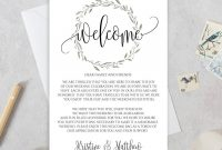 Wedding Welcome Letter Template Welcome Bags Wedding  Etsy for Wedding Welcome Letter Template
