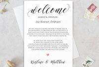 Wedding Welcome Letter Welcome Letter Template Wedding  Etsy in Wedding Welcome Letter Template