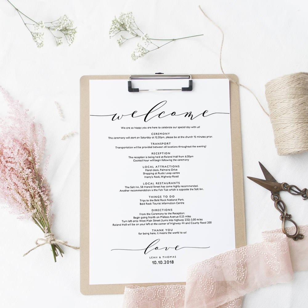 Welcome Itinerary Wedding Guest Welcome Letter Template Printable With Regard To Wedding Welcome Letter Template