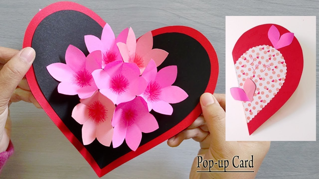 Paper Heart Flower Popup Card Paper Craftshandmade Craft Valentine  Popup Card With Paper Heart Flower Craft With Template