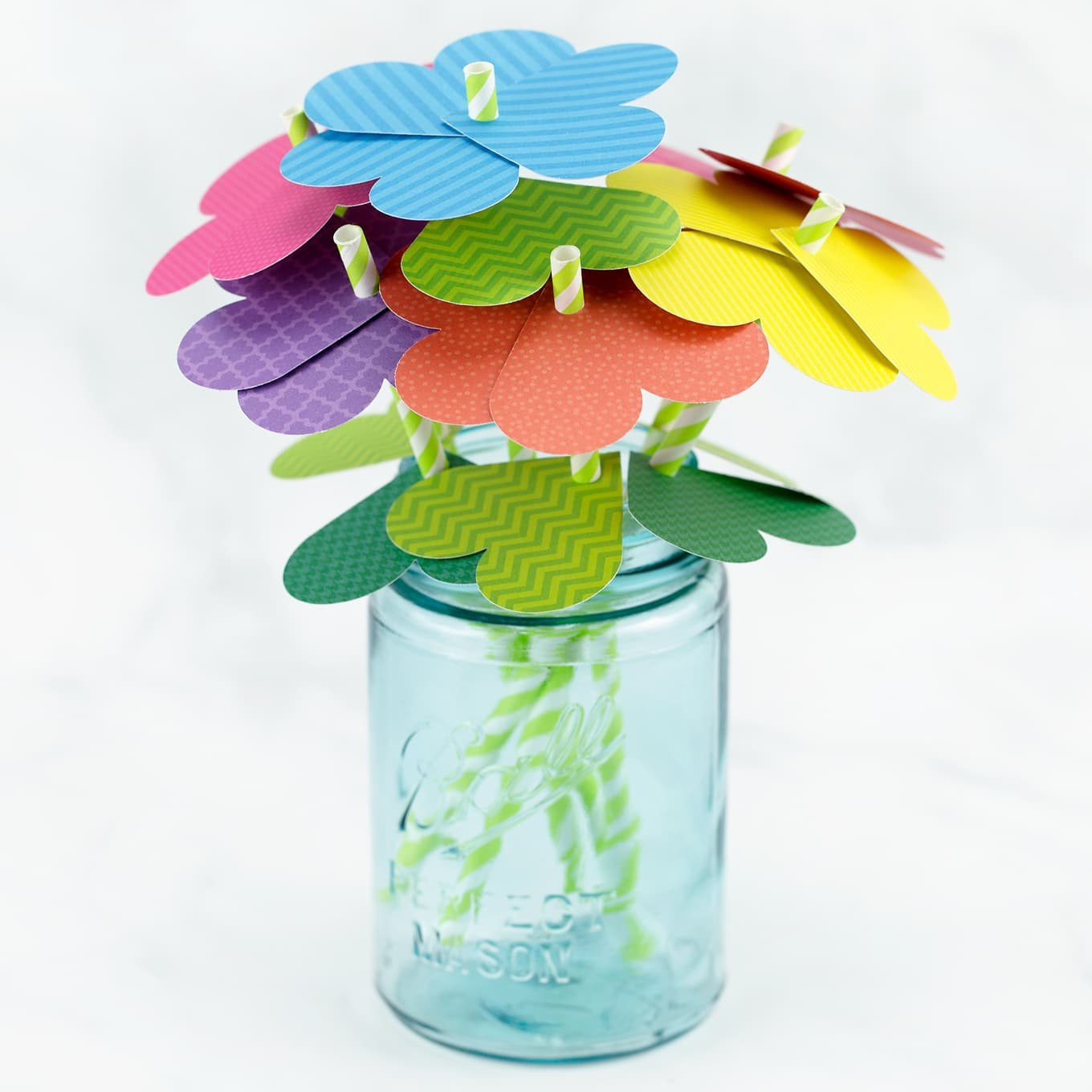 Simple Paper Heart Flowers With Regard To Paper Heart Flower Craft With Template